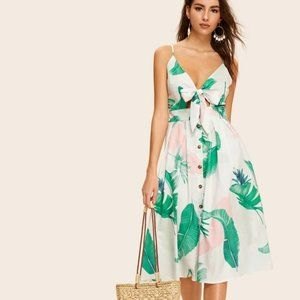 SHEIN Leaf Print Button Tie Front Cami Dress